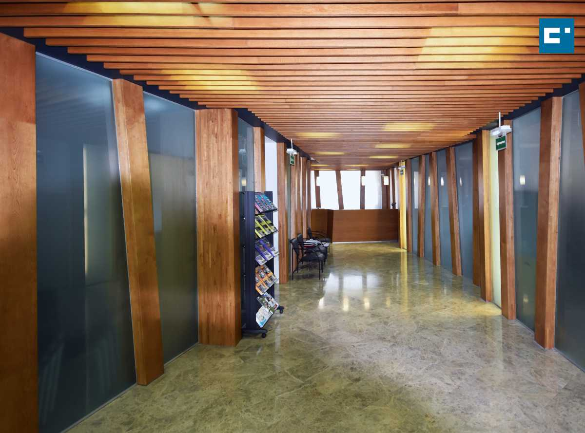 Un cálido vestíbulo central interior, concebido como un bosque de gruesos marcos de madera de roble, articula y distribuye los diferentes espacios de oficinas, despachos, salas para cursos, etc. que lo rodean perimetralmente.