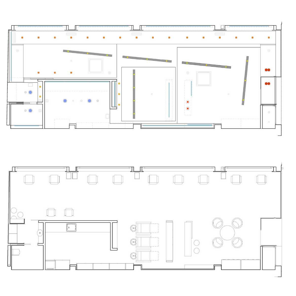 Los planos de planta y techos.
