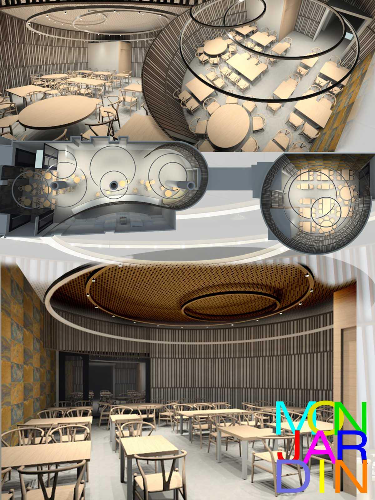 Una zona de mesas alojada en una vitrina proyectada en fachada con dos entradas laterales, nos adentra en un universo de lineas curvas, formas cilíndricas y prismáticas que conforman los diferentes espacios del bar restaurante. Los aros de luz suspendidos del techo se entrelazan y combinan tratando de trasmitir un cálido abrazo ambiental.