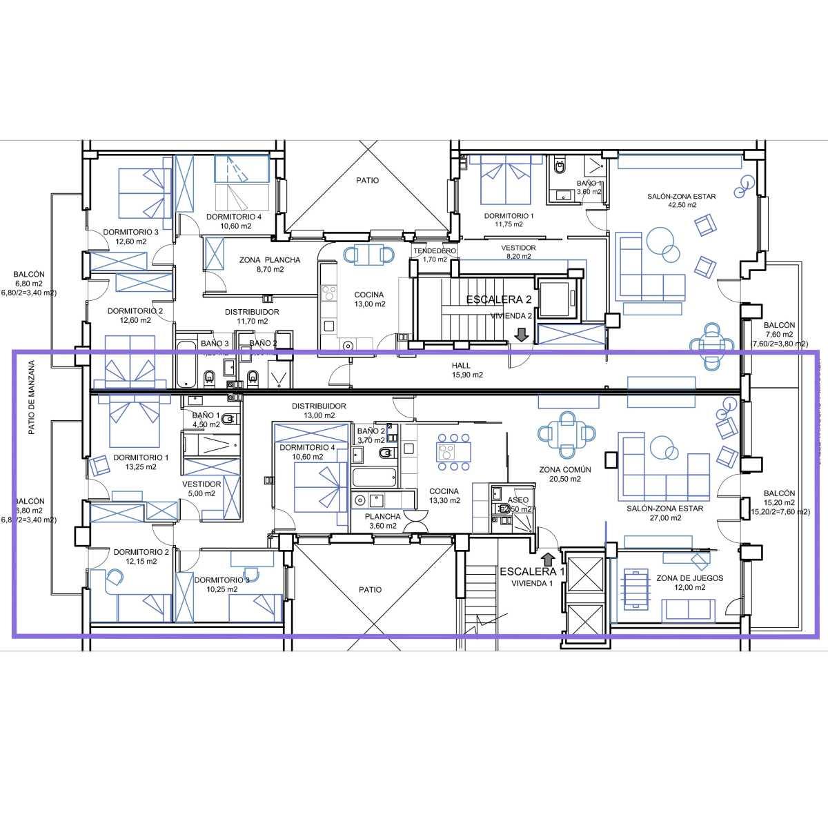 La vivienda existente de 332,10 m2 útiles se segrega en dos, para poder distribuir una de ellas para los padres y la otra para el hijo y su pareja que estaban esperando su primer hijo.
